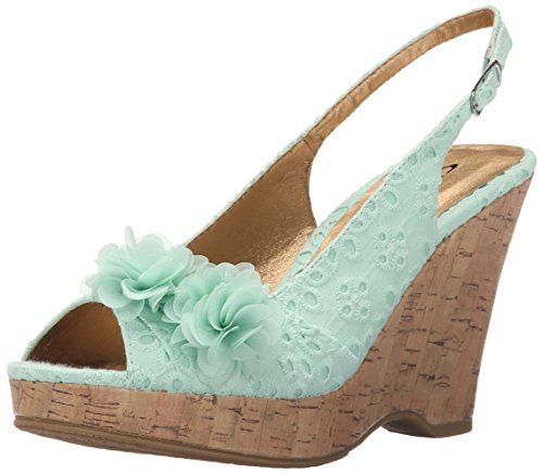 (CL by Chinese Laundry Women's Immortal Wedge Pump Sandal, Mint Flower Eyelet,  6 M)