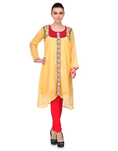 Cenizas Women's Indian Tunic Top Georgette Kurti – Medium, Beige