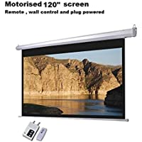 Gadget-Wagon Motorized Aluminium Electric Projector Screen Ceiling Mount with Full HD Auto Lock (White, 120-inch -8 x 6 feet)