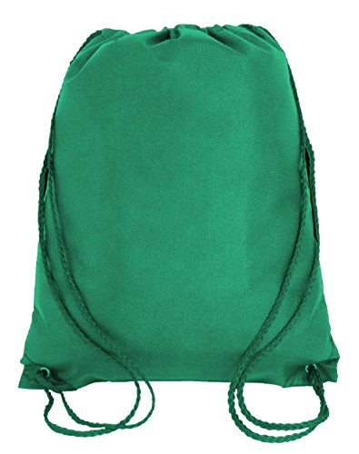 500 Bags - Box Wholesale Deal of Non Woven Well Made Bulk Drawstring Backpacks Bags Cheap Promotional Giveaway Backpacks in Bulk by BagzDepot - GK420 (Kelly Green) by BagzDepot