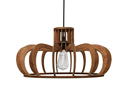 Ceiling Provence Light (Pendant lamp for kitchen, dining room or bedroom - Original design wooden lamp shade for kitchen islands - Unique wood ceiling light fixture for minimalistic, scandinavian and modern interior styles)