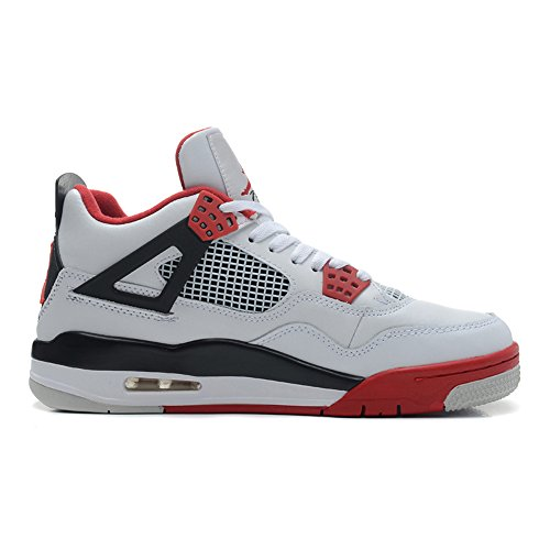 Air 4 Retro Men And Women Leather Basketball Sneakers Lightweight Breathable Trainer Shoes White Varsity Red Black Us11