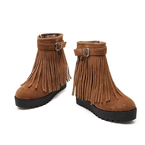 1TO9 Womens Tassels Buckle Platform Heighten Inside Cow Imitated Suede Boots Brown