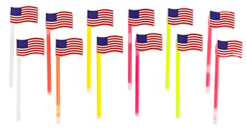 Glow Sticks- 12-Pack American Flags Glow in the Dark Sticks, Patriotic Party Supplies, USA Party Favors for Election Day, Memorial Day, Veteran's Day, 6 Colors, 2.75 x 8.75 x 0.36 Inches -