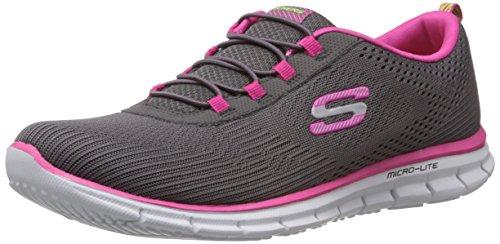 Skechers Sport Women's Game Maker Fashion Sneaker,Grey Hot Pink,8 M US