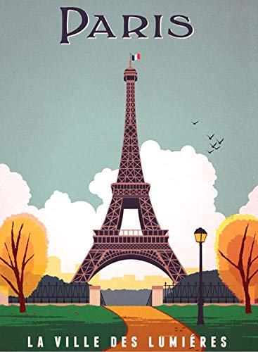 - American Vinyl Vintage Art Paris LA Ville DES LUMIÈRES Sticker (France French Eiffel Tower Travel rv)