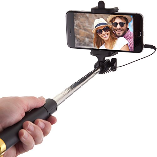Power Theory Selfie Stick - Batterielose Selfie Stange ohne Bluetooth für iPhone 7 6s 6 Plus SE 5S 5C 5 Samsung Galaxy Android S7 S6 Edge S5 S4 S3 Note Mini GoPro Smartphone - Universal Monopod Stab mit AUX Kabel (Gold)