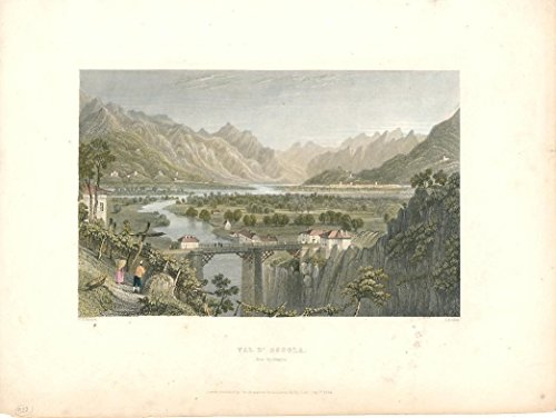 Val d' Ossola Italian Alps c.1840 old engraved view print ()
