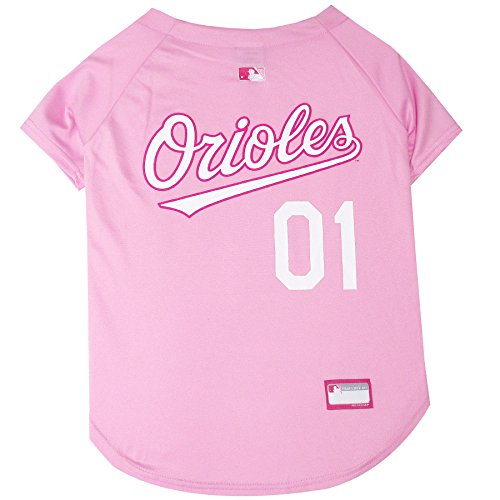 MLB Jersey For Dogs - BALTIMORE ORIOLES Pink Jersey, Medium. Cute Pink Outfit For ()