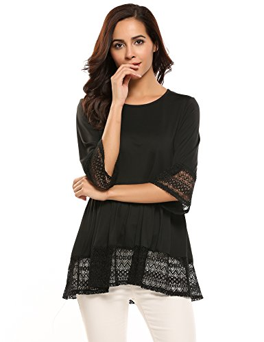 Zeagoo Womens Casual 3 4 Sleeve Loose Fitting Blouse Cute Lace Babydoll Tops T Shirts (X-Large, Black)