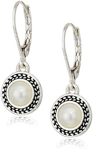 Napier Women's Pierced Earrings Pearl Drop Leverback, Silver/White Pearl