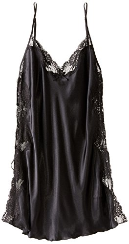 Shirley of Hollywood Women's Plus Size Charmeuse and Lace Chemise, Black, ()