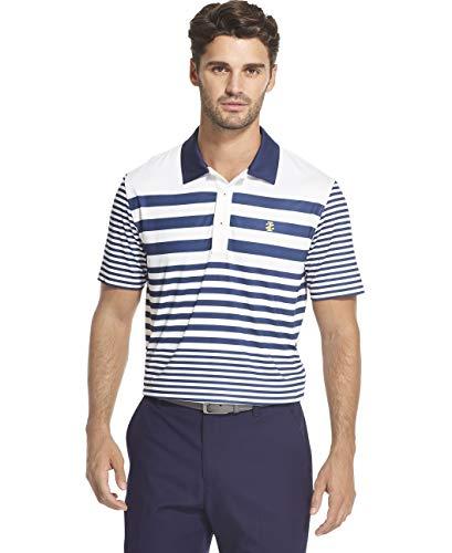 IZOD Men's Golf Short Sleeve Stripe Polo, Bright White S2019, X-Large