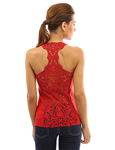 Red Crochet Lace - PattyBoutik Women's Crochet Lace Racerback Tank Top (Red S)