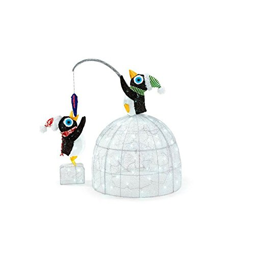 48 in. LED Lighted Tinsel and Acrylic Igloo with Fishing Penguins by Home Accents Holiday