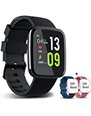 EUMI 1.30 Inch Fitness Tracker Touch Screen Smartwatch IP67 Waterproof Bracelet with Heart Rate Monitor Activity Tracker Sleep Monitor Stopwatch Multi-Sport Mode Swimming Smartwatch for Men Women