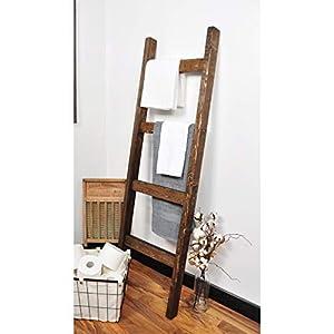 StumpandTwig Modern Farmhouse Dark Walnut Decorative Ladder 4 Rung