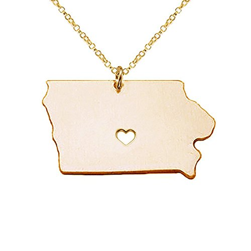(18K Gold Silver Country Map Charm Pendant Iowa state Map Necklace Jewelry (Gold) )