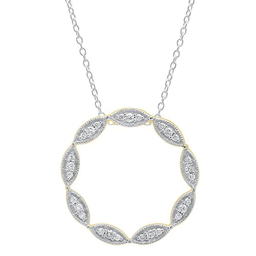 Dazzlingrock Collection 0.40 Carat (ctw) 10K Round Cut Diamond Ladies Circle Pendant (Silver Chain Included), Yellow Gold