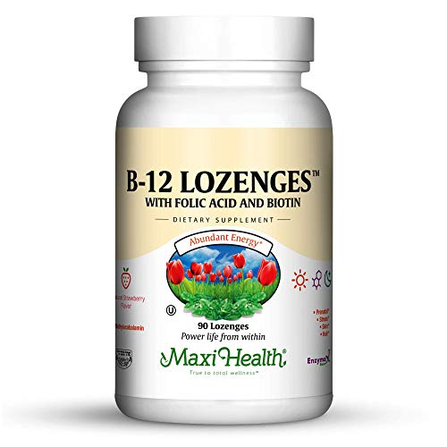Maxi Vitamins B-complex (Vitamin B-12 Lozenges - with Folic Acid and Biotin - Methlycobalamin form of B12 - Strawberry Flavor - 90 Chewies - Maxi Health - Kosher)
