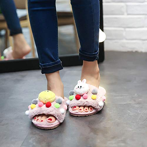 JULY Girls Slides Slippers Women's Ball T Winter Bear Rabbit Duck Decorate Cozy Flats Warm Sandals Pink Fur Plush Cute 0Hdqppw