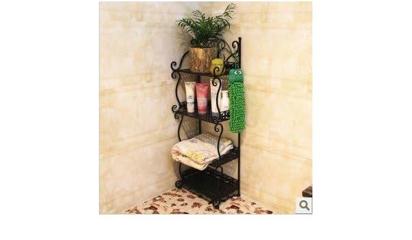 SYDLJ Arte de hierro baños kitchen cabinet admitir techo bastidores wc aseos dibujo organizar todos-tier architecture zapatos rack, blanco, ...