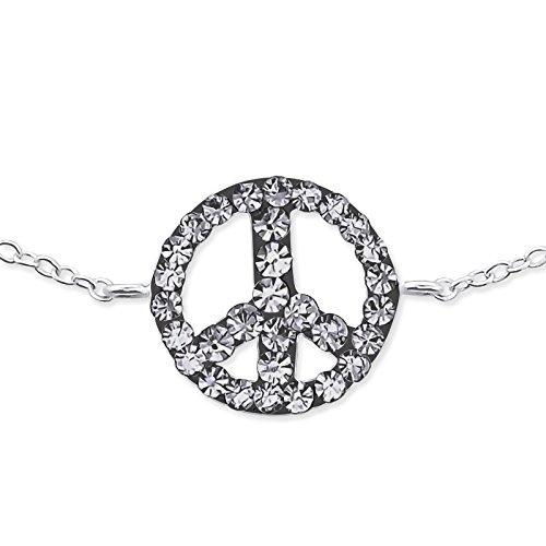 Atik Jewelry Silver Inline Peace Sign Bracelet - Black Diamond