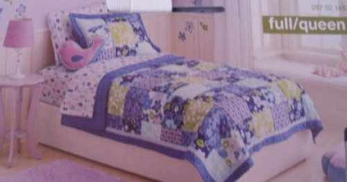 Circo Blossom Blue Full/Queen Bedding Collection - Includes Quilt (Full) and Shams, Sheet Set (Full), Bird Pillow, Circo Blossom Blue Wall Decals and Oopsy Daisy Too Blue Blossom Night Light by Circo