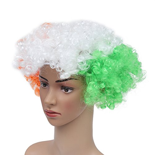 National Flag Costume Wig Party Clown Masquerade Wig for Adults World Cup Carnival -