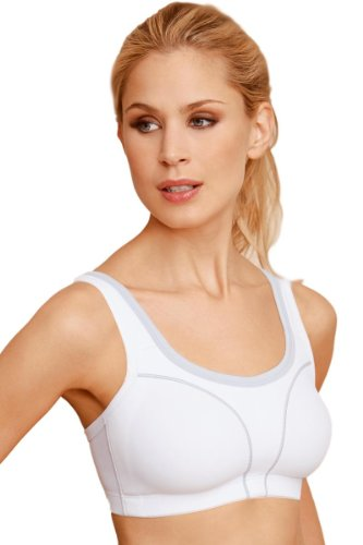 Susa Womens Non Wired Sports Bra High Support 7897 44 B White Grey