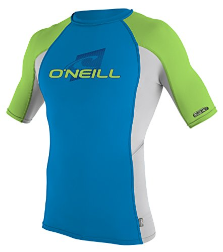 O'Neill Wetsuits Youth Premium Skins Upf 50+ Short Sleeve Rash Guard,Blue/Lunar/DayGlo,8
