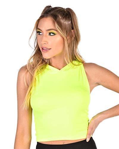 iHeartRaves Neon Vibez Hooded Crop Top (Neon Yellow, Small) ()
