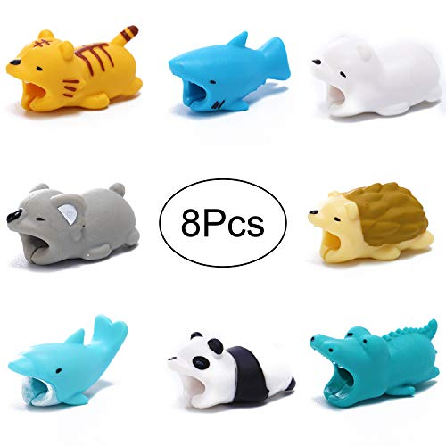 (Hipoco Cable Animal Bit - 8 Pcs - Cute Animal Cable Protector Compatible with Phone USB Cords Sleeves)