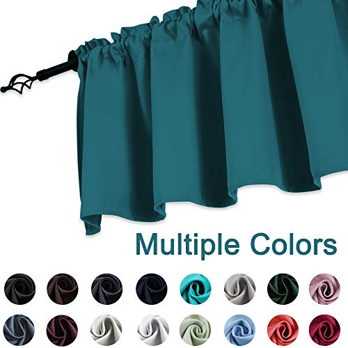 KEQIAOSUOCAI Teal Valances 18 Inch Rod Pocket Blackout for sale  Delivered anywhere in USA