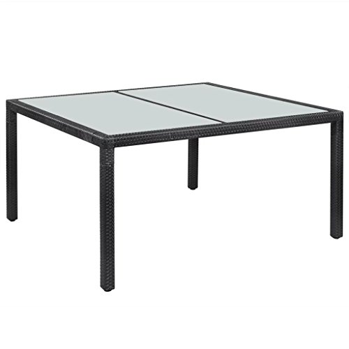 Festnight Outdoor Dining Table with Glass Top and Steel Frame Legs Poly Rattan Rectangle Patio Garden Table Outdoor Furniture (59″x35.4″x29.5″)