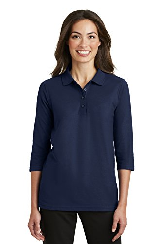 (Port Authority Ladies Silk Touch 3/4-Sleeve Polo, Navy, X-Large)