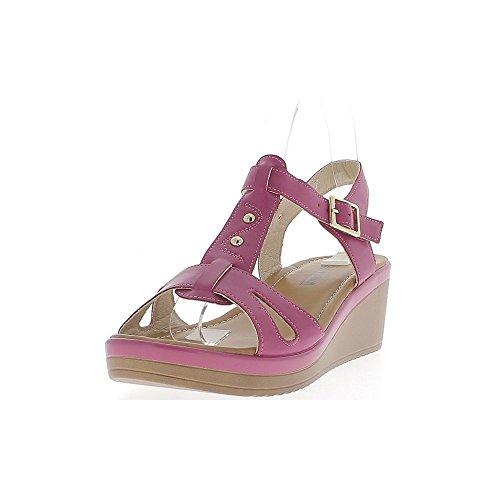 Keilabsatz Sandalen Fushias von 6cm und 2cm dicken Sohlen breitere Flanschen