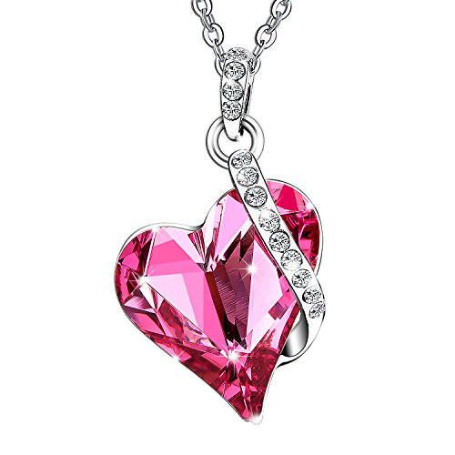 [Menton Ezil Love Heart Pendant Necklace Made with Pink Rose SWROVSKI Crystals Gifts for Her Woman Fashion Jewelry Mother's Day] (Halloween Costume Ideas For Two Teenage Girls)