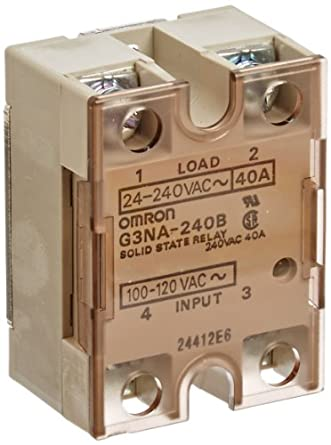 Omron G3NA-240B AC100-120 Solid State Relay, Zero Cross Function, Yellow Indicator, Photocoupler Isolation, 40 A Rated Load Current, 24 to 240 VAC Rated Load Voltage, 100 to 120 VAC Input Voltage