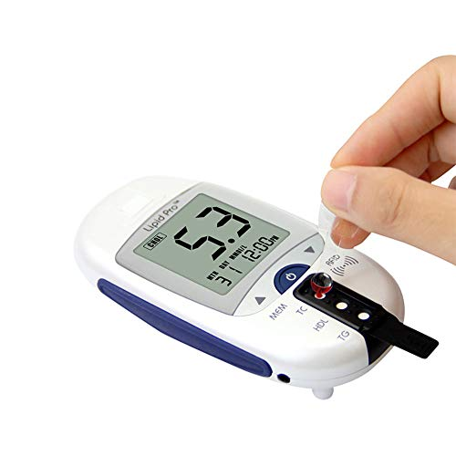 DZWJ Blood Cholesterol and Glucose Test Kit Digital Meter 10 Total Cholesterol Strips Included