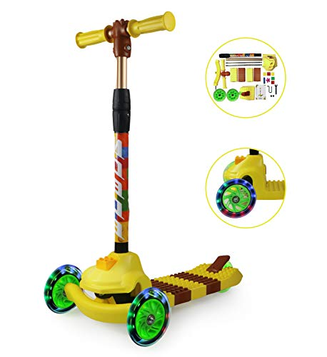 Fvino Kids Scooter 3 Wheel for Boys Girls Toddler 2-7 Years Old Kick DIY Splicing Car Adjustable Height Air Tires Folding with 7 Small Toy Blocks (Yellow)