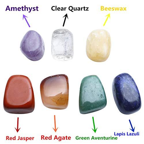 Top Plaza 7 Chakra Reiki Healing Crystals Yoga Balance Irregular Shape Polished Tumbled Palm Stones W/ 7 Chakra Healing Crystal Bracelet (7 Chakra Bracelet Without Charm) by Top Plaza (Image #3)