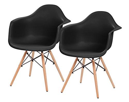 IRIS Mid-Century Modern Shell Armchair with Wood Eiffel Legs, 2 Pack, Ebony - Seat Ebony Wood