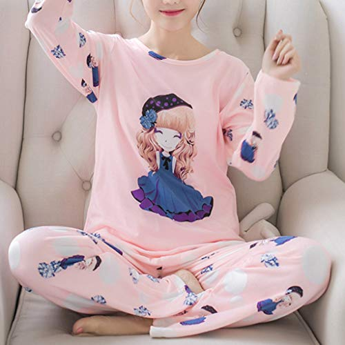 Manica Sciolto Girl Lunga Girocollo Latte Loungewear Fibra Due Di Pezzi Set Cartoon 2xl Stampa Sleepwear Womens Groomy Autunno Pigiama Figura D Cute Primavera C Top R4x0wAT