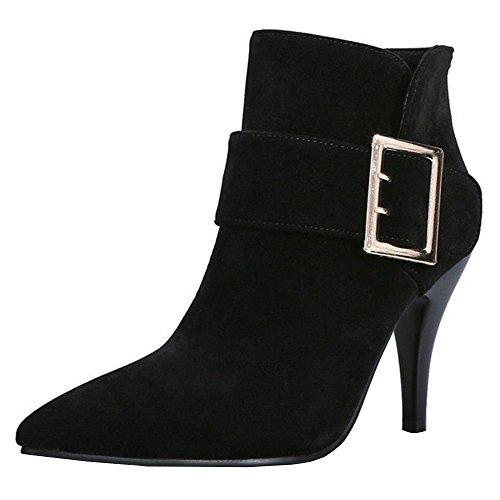 COOLCEPT Ankle High Fashion Women's Black Shoes Boots Heels High Stiletto wZqT7