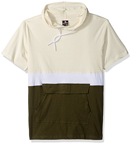 Southpole Men's Anorak Colorblock Short Sleeve Hoodie Single Jersey, Bone, (Sleeve Anorak)