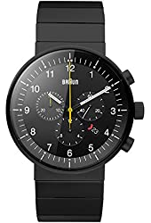 Braun Men's BN0095BKBKBTG Prestige Analog Display Swiss Quartz Black Watch