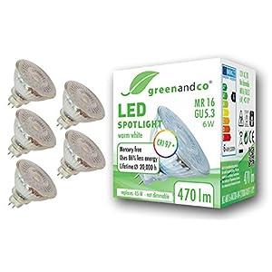 5X greenandco® CRI 97+ 2700K 36° LED Spot Replaces 45 Watt GU5.3 MR16 Halogen Spotlight, 6W 470 Lumen Warm White SMD LED…