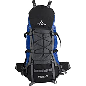 Teton Sports Fox 5200 Internal Frame Backpack – Not Your Basic Backpack; High-Performance Backpack for Backpacking, Hiking, Camping; Sewn-in Rain Cover; Blue