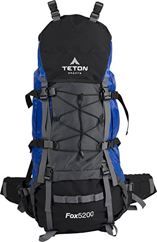 TETON Sports Fox 5200 Internal Frame Backpack - Not Your Basic Backpack; High-Performance Backpack for Backpacking, Hiking, Camping; Sewn-in Rain Cover; Blue